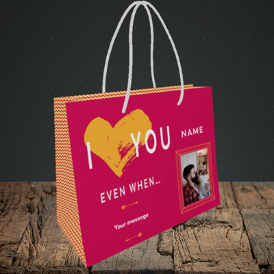 Picture of Love You Even When, Valentine's Design, Small Landscape Gift Bag