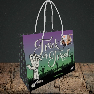 Picture of Trick Or Treat Repeat, Halloween Design, Small Landscape Gift Bag
