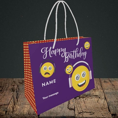 Picture of Smileys, (Without Photo) Birthday Design, Small Landscape Gift Bag