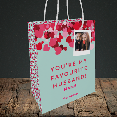 Picture of Favourite Husband, Valentine's Design, Small Portrait Gift Bag