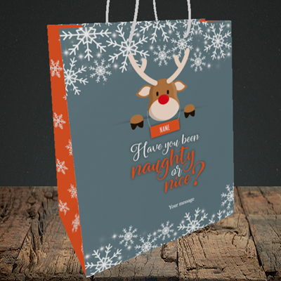 Picture of Naughty, (Without Photo) Christmas Design, Medium Portrait Gift Bag