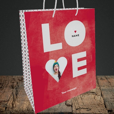 Picture of Love Type (stacked), Valentine's Design, Medium Portrait Gift Bag