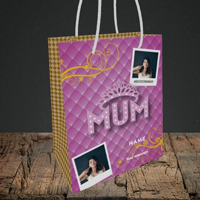 Picture of Bestest Mum, Mother's Day Design, Small Portrait Gift Bag
