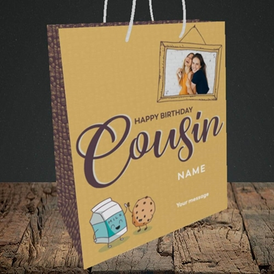 Picture of Cousin(M&C), Birthday Design, Medium Portrait Gift Bag