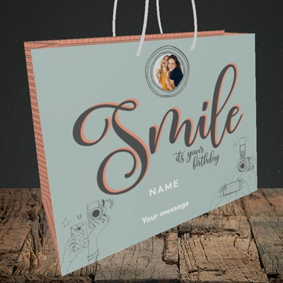 Picture of Camera Smile, Birthday Design, Medium Landscape Gift Bag