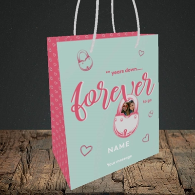 Picture of Forever To Go, Anniversary Design, Small Portrait Gift Bag