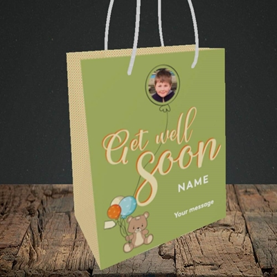 Picture of Bear with Balloons, Get Well Soon Design, Small Portrait Gift Bag