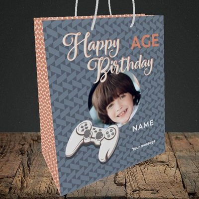 Picture of Gaming Control, Birthday Design, Medium Portrait Gift Bag