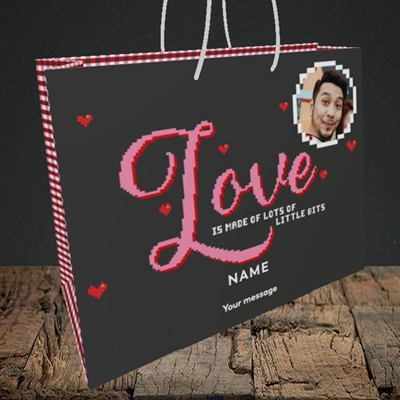Picture of Love Bits, Valentine's Design, Medium Landscape Gift Bag