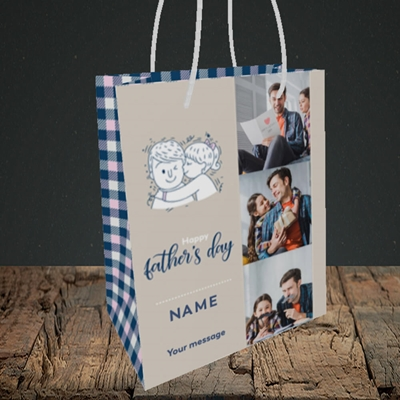 Picture of Father & Daughter, Father's Day Design, Small Portrait Gift Bag
