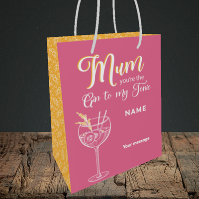 Picture of Gin To My Tonic, (Without Photo) Mother's Day Design, Small Portrait Gift Bag