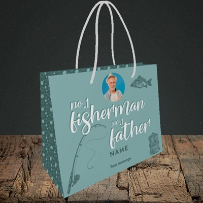 Picture of Fisherman, Father's Day Design, Small Landscape Gift Bag