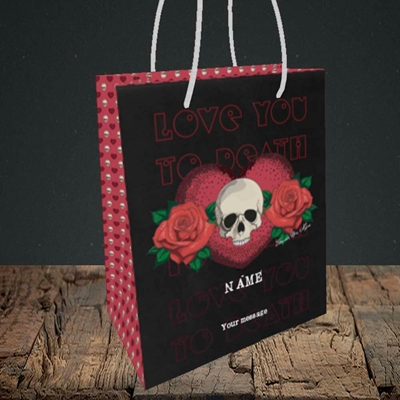 Picture of Love You To Death(Without Photo), Valentine's Design, Small Portrait Gift Bag