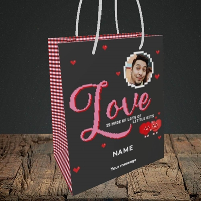 Picture of Love Bits, Valentine's Design, Small Portrait Gift Bag