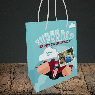 Picture of Superdad, Father's Day Design, Small Portrait Gift Bag