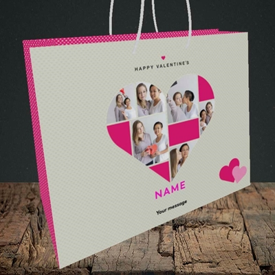 Picture of Heart Multi Photo, Valentine's Design, Medium Landscape Gift Bag
