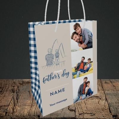 Picture of Father & Son, Father's Day Design, Small Portrait Gift Bag