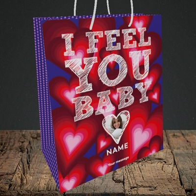 Picture of I Feel You Baby, Valentine's Design, Medium Portrait Gift Bag