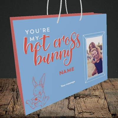 Picture of Hot Cross Bunny, Easter Design, Medium Landscape Gift Bag