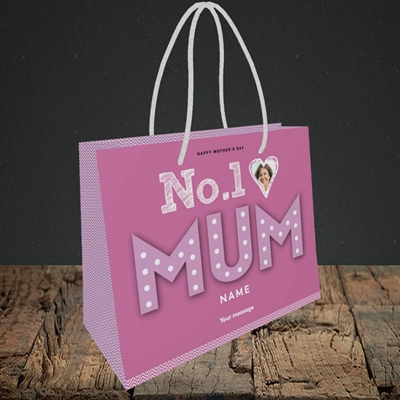 Picture of No.1 Mum (In Lights), Mother's Day Design, Small Landscape Gift Bag