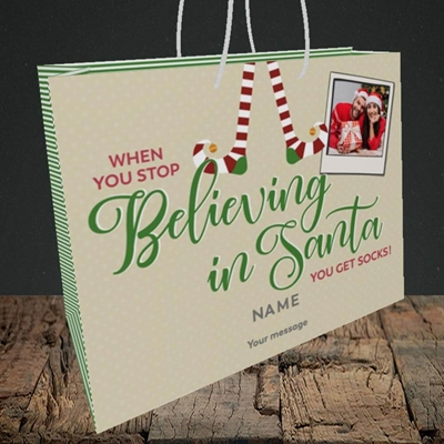 Picture of Believing In Santa, Christmas Design, Medium Landscape Gift Bag
