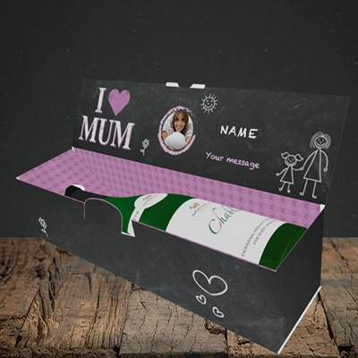 Picture of I Love Mum (Chalk Board), Lay-down Bottle Box