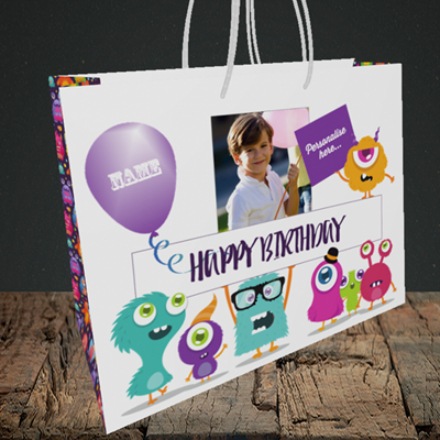Picture of Monster, Birthday Design, Medium Landscape Gift Bag