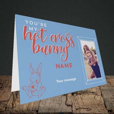 Picture of Hot Cross Bunny, Easter Design, Landscape Greetings Card