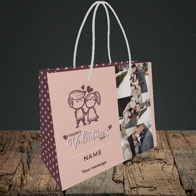 Picture of Holding Hands, Valentine's Design, Small Landscape Gift Bag