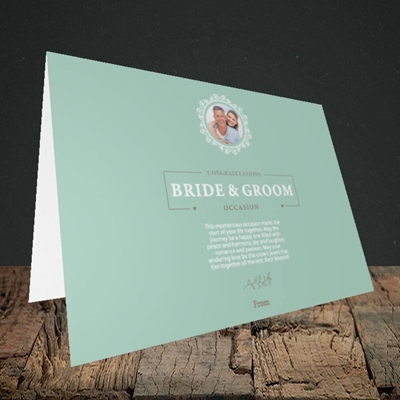 Picture of Traditional Foliage Teal B&G, Wedding Design, Landscape Greetings Card