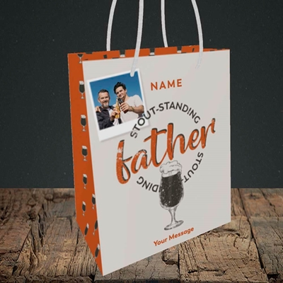 Picture of Stout-standing Father, Father's Day Design, Small Portrait Gift Bag