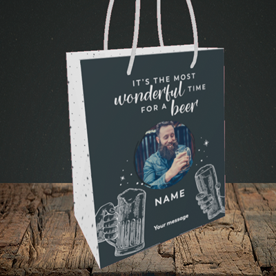 Picture of Time for a Beer, Christmas Design, Small Portrait Gift Bag