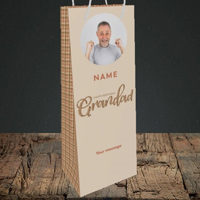 Picture of Grandad, Birthday Design, Bottle Bag