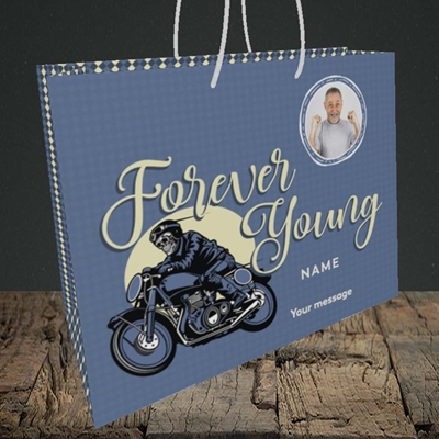 Picture of Forever Young (Motorbike), Birthday Design, Medium Landscape Gift Bag