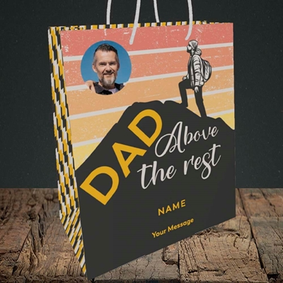 Picture of Dad Above The Rest, Father's Day Design, Medium Portrait Gift Bag