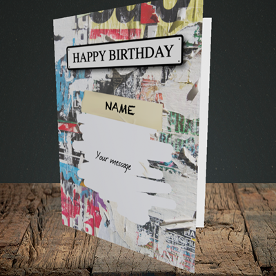 Picture of Graffiti, (Without Photo) Birthday Design, Portrait Greetings Card