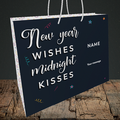 Picture of Midnight Kisses(Without Photo), New Year Design, Medium Landscape Gift Bag