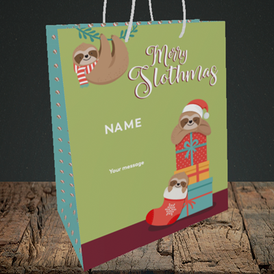 Picture of Slothmas, (Without Photo) Christmas Design, Medium Portrait Gift Bag
