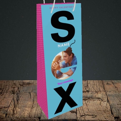 Picture of Sex Bomb - Blue, Valentine's Design, Bottle Bag