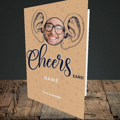 Picture of Cheers Ears, Thank You Design, Portrait Greetings Card