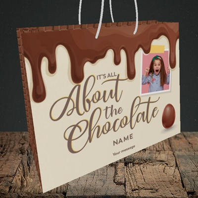 Picture of All About The Chocolate, Easter Design, Medium Landscape Gift Bag