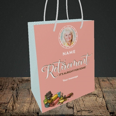 Picture of Retirement Spa, Leaving Design, Small Portrait Gift Bag