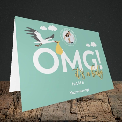 Picture of OMG! It's a Baby, New Baby Design, Landscape Greetings Card
