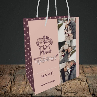 Picture of Holding Hands, Valentine's Design, Small Portrait Gift Bag