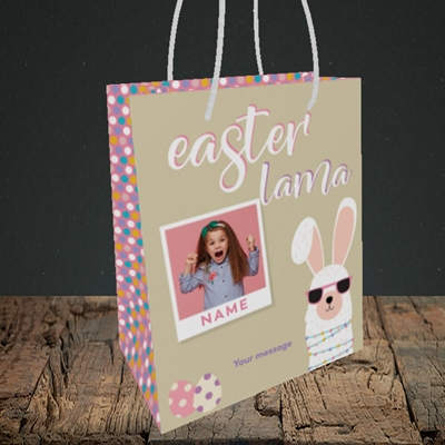 Picture of Easter Lama, Easter Design, Small Portrait Gift Bag