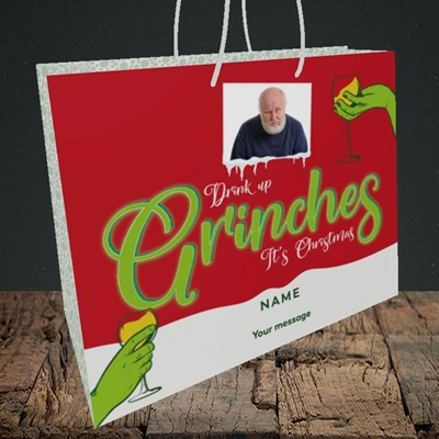 Picture of Drink Up Grinches, Christmas Design, Medium Landscape Gift Bag