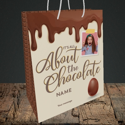Picture of All About The Chocolate, Easter Design, Medium Portrait Gift Bag