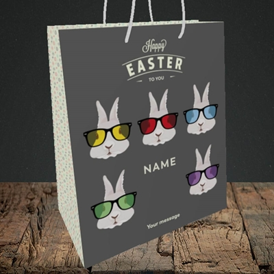 Picture of Hipster Bunnies(Without Photo), Easter Design, Medium Portrait Gift Bag