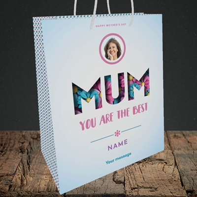 Picture of Mum You Are The Best (flower cut out), Medium Portrait Gift Bag