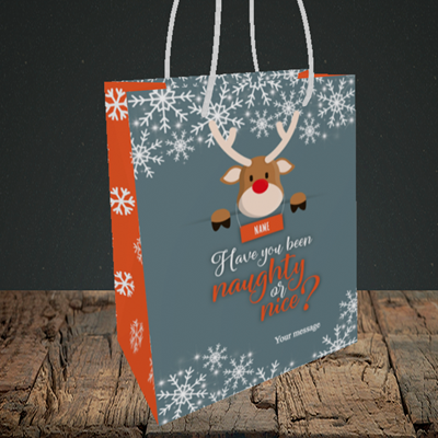 Picture of Naughty, (Without Photo) Christmas Design, Small Portrait Gift Bag